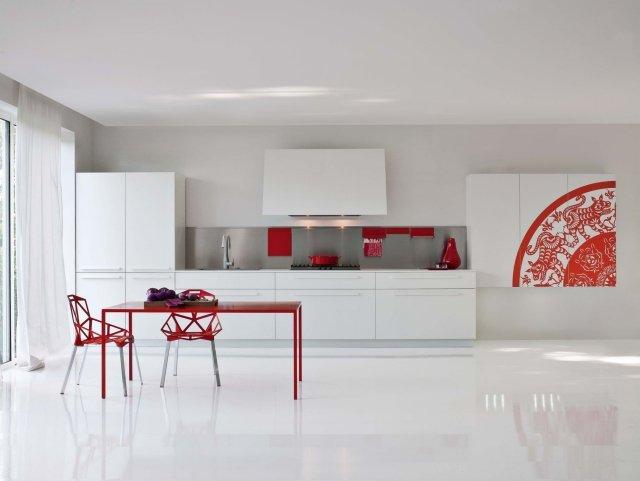 cuisine blanche et rouge